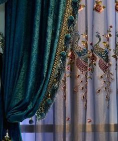 Tuscan style – Mediterranean Home Decor Peacock Curtains, Art Deco Curtains, Peacock Decor, Lace Curtains, Blackout Curtains, Drapery, Peacock Colors, Peacock Feathers, Victorian Curtains