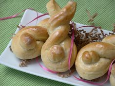 Bunny rolls - sweet bread dough shaped like bunnies with orange icing.  Good ol' Betty Crocker!
