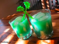 St. Patty's Punch  1.5 oz. gold rum  .5 oz. Blue Curacao Liqueur  Orange Juice    In a rocks glass over ice, pour the rum and Blue Curacao Liqueur. Top it off with orange juice and stir slightly. Garnish with a slice of orange if you'd like!