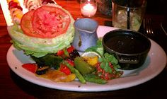 """hub 51 : """"green"""" vegetarian tacos ...  simply grilled peppers, asparagus & zucchini with lettuce cup shells, tomato slices, guacamole, pico de gallo, roasted tomato salsa & black beans."""