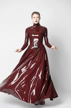 Brown latex maxi dress with full skirt, long sleeves, high neckline and black piping. DIY the look Pvc Fashion, Fetish Fashion, Latex Fashion, Womens Fashion, Skirt Outfits, Dress Skirt, Mode Latex, Rubber Dress, Vinyl Dress