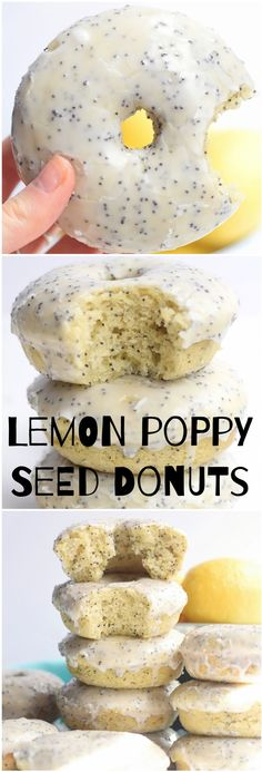 Baked Lemon Poppy Seed Donuts + Video - Recetas - Donas / Donuts Baked Lemon Poppy Seed Donuts + Video Baked Lemon Poppy Seed Donuts: soft, fluffy, super easy baked donuts full of fresh lemon flavor and studded with poppy seeds. Baked Donut Recipes, Baked Doughnuts, Baking Recipes, Healthy Baked Donuts, Easy Donut Recipe, Just Desserts, Dessert Recipes, Dessert Blog, Homemade Donuts