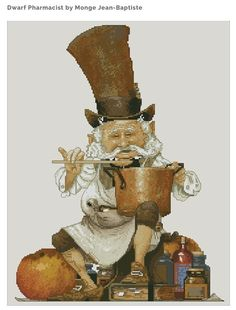 Cross Stitch Chart Goblin pharmacist Fantasy Series by Lena Lawson Needlearts - Art of Jean-Baptiste Monge