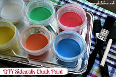 DIY Sidewalk Chalk Paint, a fun & frugal summer craft. If you're looking for cheap fun activity to keep your kids busy, this is a must-try!
