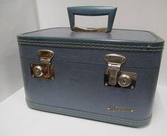 Vintage Monarch Blue Train Case Vanity Makeup by retrogal415