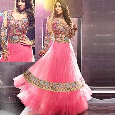 New Designer Floor Length Pink Anarkali Suit at 50% Off. Special Price INR- 3,840. http://bit.ly/1Mnfxzp