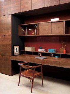 Loving this rustic, yet modern, workspace