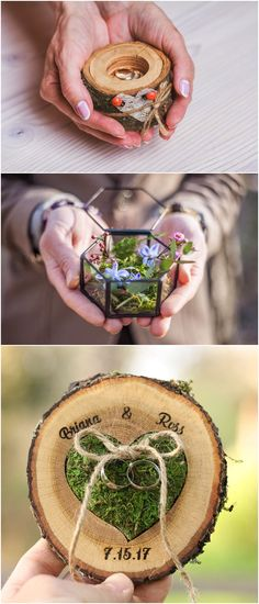 Wedding Ring Box Alternative & WALL DISPLAY Ring Bearer Display Country Wedding Proposal Ring Holder Wedding Woodland Ring Holder Pillow