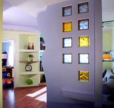 colored glass block wall design