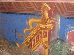 Fresco of a seahorse (hippocamp) from a Roman villa in Positano.