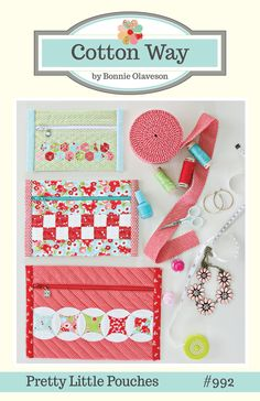 Pretty Little Pouches PDF Pattern #992 - Small, Medium and Large Pouches. So easy and quick to make. This is the easiest zipper you will ever put i...
