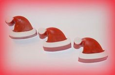 $2.50 each I just love how cute these Santa hat glycerin soaps are. Sure to decorate any bathroom or kitchen for the holidays!  These are perfect for party favors! Choose from over 70 fragrances and many color options. Follow us on Facebook and Twitter for new items and specials. https://www.facebook.com/creationsbycc1