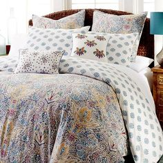 With a bold palette, an adventurous print and fun, unexpected touches, Azore is a collection you'll adore. Duvet covers radiate warmth and joy, with an updated paisley pattern that evokes an expanse of Mediterranean tiles. It reverses to a simpler pattern is on the back. Shams offer complementary patterns that fascinate on their own. And embroidered pillows tie it all together in a smart design statement that's fun as all get out. So get in—on Azore.