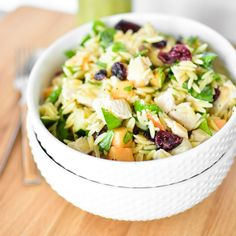 This melon orzo salad is perfect for your next picnic. It can be served warm, cold or at room temperature and is topped with a delicious vinaigrette!