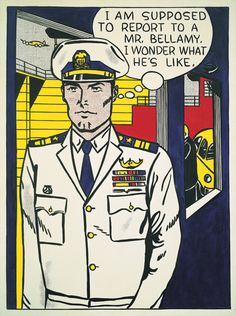 "Comic Boy's say. ""I am supposed to report to a mr. I wonder what he's like "" ( 1961 Roy Lichtenstein,) Roy Lichtenstein Pop Art, Museum Of Modern Art, Art Museum, Industrial Paintings, Comic Art, Comic Books, Jasper Johns, Comic Book Style, Arte Pop"