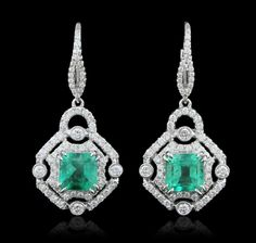 18KT White Gold 2.42ctw Emerald and Diamond Earrings : Lot 74