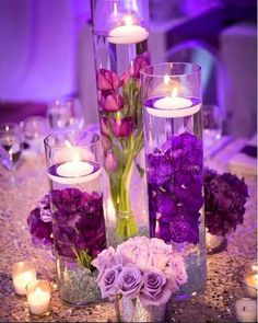 2019 Brides Favorite Purple Wedding Colors---vase centerpieces with flowers and floating candles-dinner party reception ideas Wedding Themes, Wedding Colors, Wedding Flowers, Wedding Decorations, Quinceanera Planning, Quinceanera Party, Wedding Table, Fall Wedding, Diy Wedding