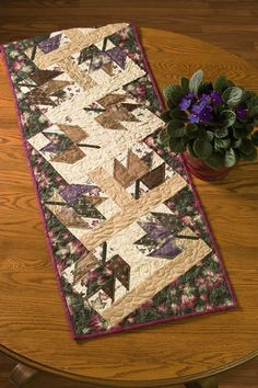 Autumn Leaves Table Runner ePattern - like the angles in this, as well as the not so traditional fall colors