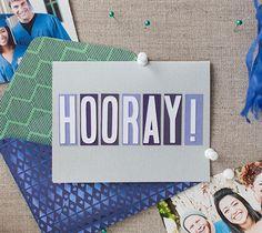 "Hooray Card - Celebrate with a card! Finished card measures 5.25"" W x 4.25"" H. - Dezi Moss #DIY #CricutMade"