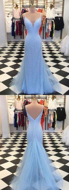 Mermaid Spaghetti Straps Sweep Train Blue Sequined Prom Dress M3722