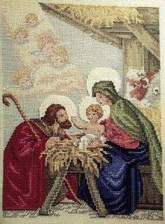 Solo Patrones Punto Cruz The Angels Story Cross Stitch Love, Cross Stitch Kits, Counted Cross Stitch Patterns, Cross Stitch Embroidery, Embroidery Patterns, Christmas Scenes, Christmas Cross, Josi, Christian Images