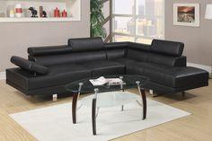 "@ Home Furnishings of Florida Corp - Bobkona 2 Pcs Sectional Bonded Leather ""Black"", $899.00 (http://athomefurnishingsfl.net/bobkona-2-pcs-sectional-bonded-leather-black/)"