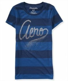 Camiseta Aéropostale Women's Sparkly Aero Striped Graphic T Midnight Navy #Aéropostale#Camiseta