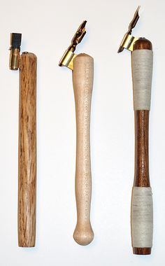 These are the successful cursive pen holders. Two are being used with Mitchell nibs and the other with a felt brush tip. It took over three weeks and many hours to get the flange tilt and angle set up properly for ease of writing cursive letterforms.