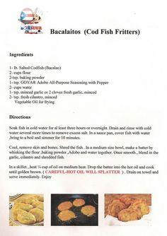 Cod fish fritters, bacalaitos