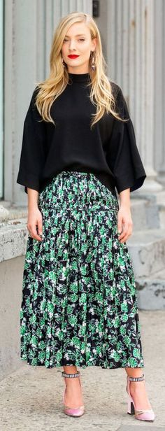 Green Floral Maxi Skirt by Fashionista