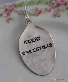 Merry Christmas VINTAGE SPOON ORNAMENT by SilverwareCreations, $12.00