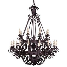 Shandy 48-In 24-Light Forged Black Candle Chandelier 20111280