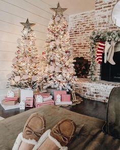 Multiple Christmas Tree, Flocked Christmas Trees, Holiday Decoration Ideas, Farmhouse Christmas Inspiration
