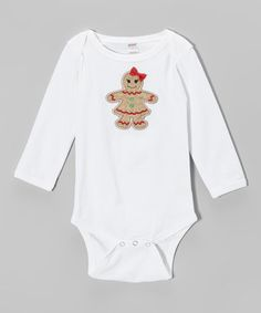 The festive gingerbread girl on this piece is simple and sweet, with a bitty bow for added fun. A lap neck and snaps ensure fuss-free holidays with this adorable essential.