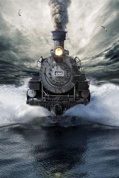 Steam train boat by Jan Friis (Digital art)