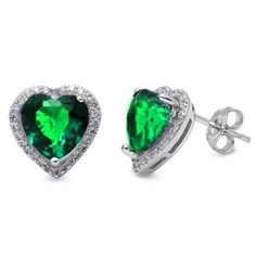 joyfulcrown.com Simulated Heart Green Emerald Studs Styl...