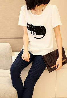 All Match Short Sleeve Black Cat Graphic T