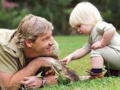 Steve Irwin and Robert, his son.