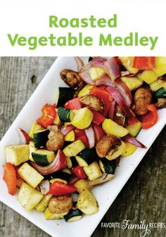 Perfectly roast fresh vegetables as a healthy and easy side dish for your next meal! This colorful medley is made with zucchini, yellow squash, red peppers, and more.