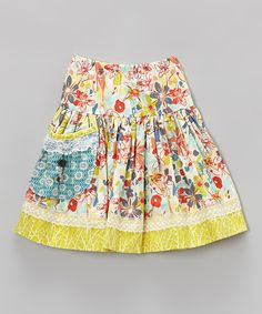 Take a look at the Smartie Britches Mossy & Red Floral Sadie Skirt - Toddler on #zulily today!