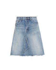 Saint Laurent | Black Blue Denim Skirt | Lyst