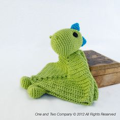 Instant Download - New PDF Crochet Pattern - Dino Security Blanket - Text instructions and SYMBOL CHART instructions. $3.99, via Etsy.