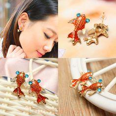 Alloy Crystal Eye Gold Fish Stud Earrings