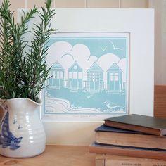 Hand Printed FOUR BEACH HUTS Lino Print - Folksy