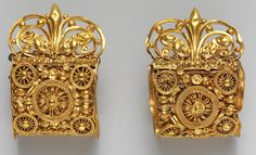 Pair of gold a baule earrings Date: 6th century B.C. Etruscan. The Met