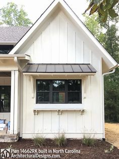 Modern Farmhouse Plan Comes to life in North Carolina - photo 048 - Farm House Decor Farmhouse Sheds, Modern Farmhouse Exterior, Farmhouse Style, Exterior Siding, Exterior Colors, Exterior Design, Diy Exterior Awnings, Door Overhang, Planer