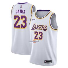 92d4bafebd58a Maillot NBA Nike Los Angeles Lakers NO.23 Lebron James Blanc Association  2018-19 Pas Cher