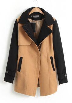 Camel Notch Lapel Long Sleeve Wrap Wool Coat