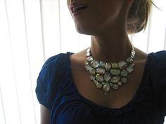 Crystal AB Rhinestone Bib Statement Necklace by SparkleBeastDesign, $29.99