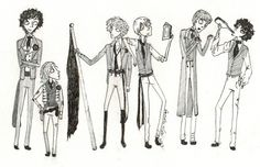 Tim Burton inspired Les Miserables fan art. Les Amis de l'ABC. Courfeyrac, Gavroche, Enjolras, Combeferre, Joly, and Grantaire.